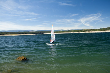 Windsurfing. Recreational water sports during summer vacation.