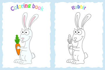 Coloring book page for preschool children with colorful rabbit  and sketch to color.