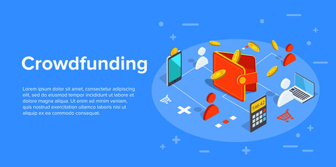 Crowdfunding vector business illustration in isometric design. Crowdsourcing or fundraising concept, investing money in start-up project.