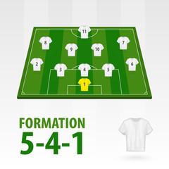 Football players lineups, formation 5-4-1. Soccer half stadium.
