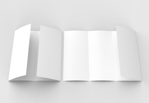 Four folded - 4-Fold - vertical brochure mock-up isolated on soft gray background. 3D illustrating.