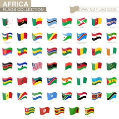Waving flag icon, flags of Africa countries sorted alphabetically.