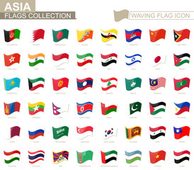 Waving flag icon, flags of Asia countries sorted alphabetically.