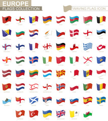 Waving flag icon, flags of Europe countries sorted alphabetically.