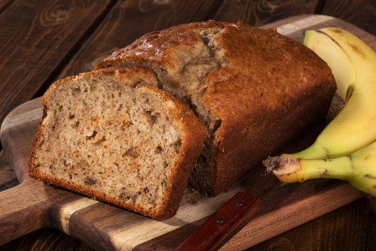Sliced loaf of banana nut bread
