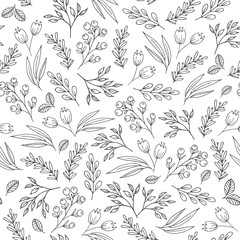Floral seamless pattern with flowers, plants, berries. Vector background