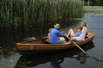 Family in rowing boat on lake