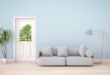 interior modern living room and green landscape in door. 3D rendering