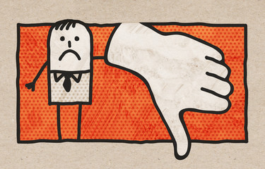 Cartoon Businessman with Finger Down