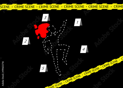 A body outline with crime scene tape and numbers, vector black