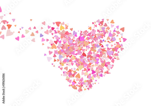 Rose color confetti with heart shapes Romance pink background for