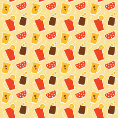 Seamless pattern with different cups