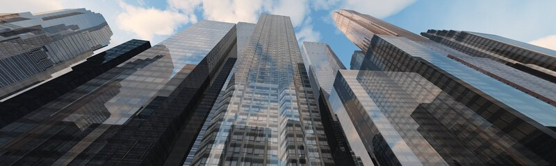 Panorama of modern high-rise buildings, skyscrapers view from below
