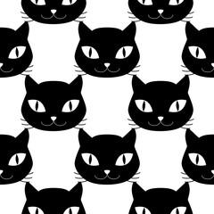 Cat heads seamless pattern
