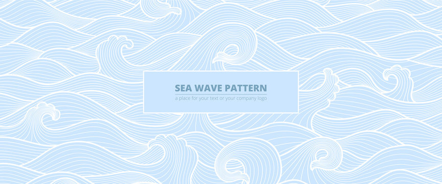 long banner background pattern blue sea waves