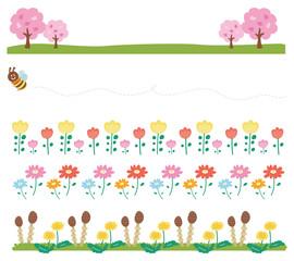 春の飾り枠・ラインのイラスト素材(花・自然)