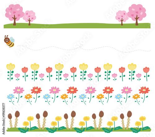 春の飾り枠ラインのイラスト素材花自然 Stock Image And