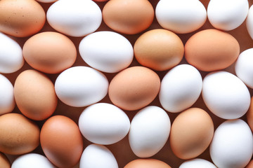 Raw chicken eggs as background