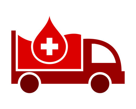 medical blood droplets red boxcar transportation vehicle ride drive image vector icon