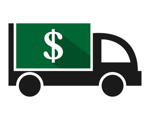 currency dollar boxcar transportation vehicle ride drive image vector icon