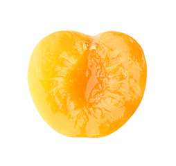 Half of pickled apricot on white background