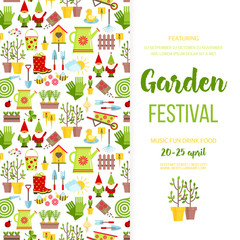Garden festival banner poster template design. Garden care icons invitationholiday invitation. Cartoon flat style vector illustration.