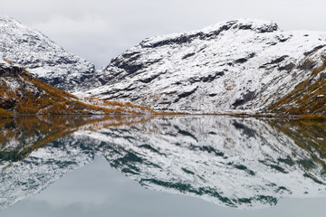 Icy Reflections on Lake Bovertunvatnet