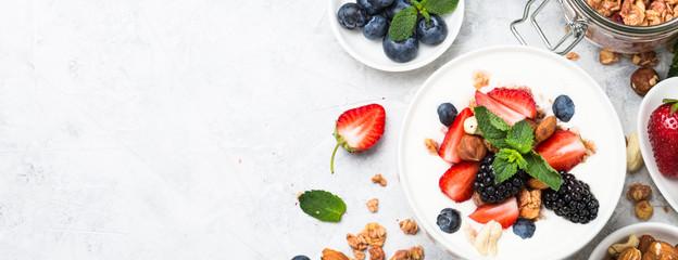 Greek yogurt granola and berry mix. Top view.