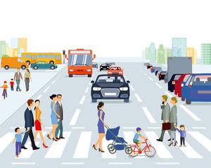 große Stadt mit Straßenverkehr und Fußgänger, Illustration