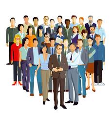 Führungskraft mit Mitarbeiter Gruppe