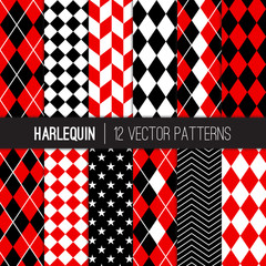 Harlequin Seamless Vector Patterns in Red, Black and White Argyle, Diamond, Herringbone, Checkers, Chevron and Stars. Popular Woman Superhero Background. Pattern Tile Swatches Included.