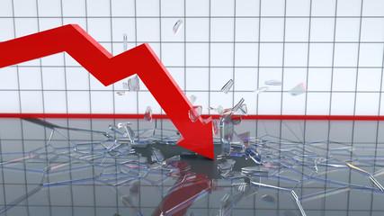 falling chart breaks the bottom
