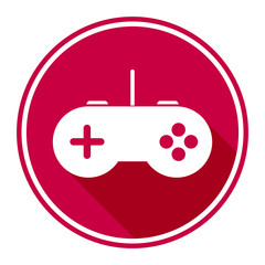 Minimalistic, circular, game controller icon/logo. White on cherry red