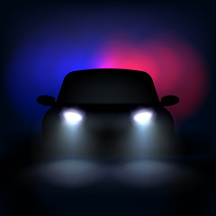 Automobile silhouette with headlights and shadows. Vector illustration.