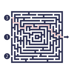 Labyrinth game. Three entrance, one exit and one right way to go. But many paths to deadlock. Vector illustration.