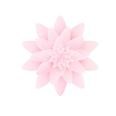 Paper flower lotus. isolated on white background. Vector illustration.