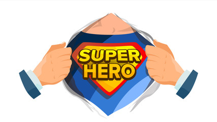 Super Hero Sign Vector. Superhero Open Shirt To Reveal Costume Underneath With Shield Badge. Isolated Flat Cartoon Comic Illustration