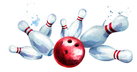 Bowling ball crashing into the pins. Watercolor hand drawn illustration  isolated on white background