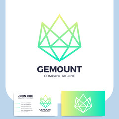 Mountain diamond or gem icon logo design element