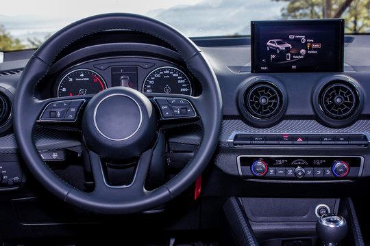 dashboard and steering wheel of modern car