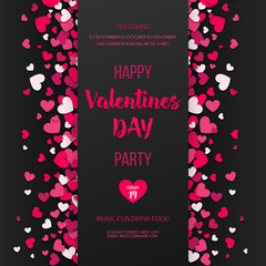 Happy Valentines day party flyer. Love and hearts feast invitation. Pink and red flat hearts on black background. Vector illustration.