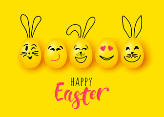 Easter eggs and rabbit funny vector characters for banner poster greeting card