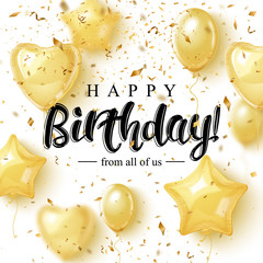 Happy Burtday Greeting Card Design with Golden Balloons and pieces of confetti. Elegant modern brush lettering. Vector illustration