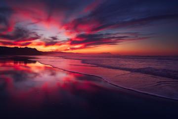red sunset in Sopelana beach