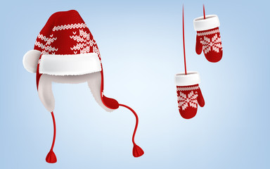 eb3f25a6b1919 Vector realistic illustration of knitted santa hat with earflaps ...