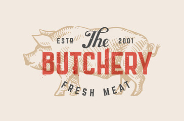 Butcher shop vintage logo