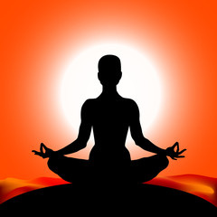 Famale body silhouette in yoga lotus asana on the sun red color background. Vector illustration eps10