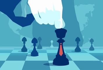 Crop powerful hand playing world chess
