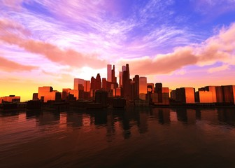 Beautiful modern city at sunset over the water 3D rendering