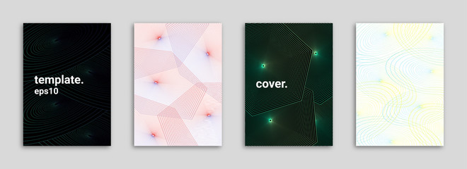 Abstract Background Cover/Flyer/Poster/Album Template Bundle - Colorful Geometrical Shapes Minimal Lines